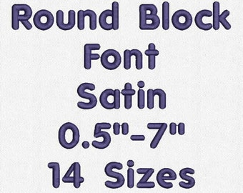 Round Block Font 14 Sizes Embroidery Design