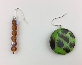 Mix-Match Earrings, Matchstick and Drop- Brown and Green Leopard