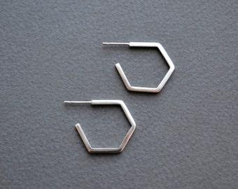Sterling Silver Hexagon Hoop Earrings | Geometric Hoop Earrings | Hexagon Hoop Earrings | Small Hoop Earrings