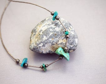 Sterling Silver and Turquoise Necklace Southwestern Necklace
