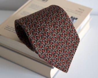 Vintage silk necktie, wide geometric mens necktie, geometric silk neck tie, cravat cravatte / classic beige brown orange mens neck tie