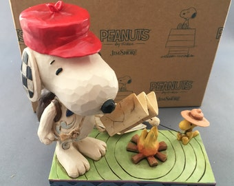 Jim Shore Peanuts Snoopy with Woodstock Campfire Figurine.Boxed.