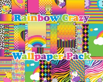 60% Off Rainbow Crazy Wall Pack for Mobile Devices, Instant Download, Iphone, Android,