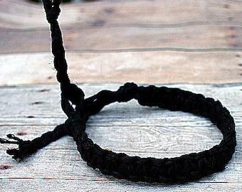 Surfer Macrame Hemp Bracelet Black Woven Knot Friendship Bracelets
