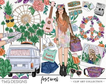 Festival Summer Road Trip Fashion Girl Clip Art Watercolor Clipart PNG Style Blogger Boho Music Flowers Hand Drawn Planner Sticker Graphics