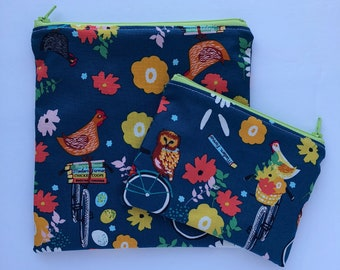 Sandwich Bag - Snack Bag - Snack Bag Set - Lunch Bag Set - Zippered Snack Bag - Reusable - Snack Sack - Chickens - Farm