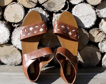 Brown Leather Sandals-Leather Sandals-Women Sandals–Flip Flops- Decorated Sandals-Summer Shoes-Gift For Her-Vintage Sandals