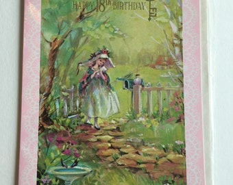 Vintage 18th Birthday Card, Cute Girl in Garden, Unused