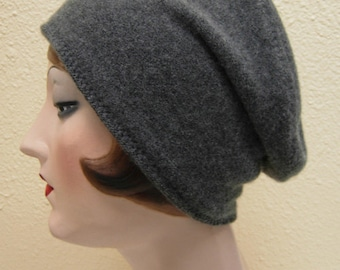 Pure Cashmere Rollup hat, Slouch beanie, medium grey. FREE SHIPPING in the US