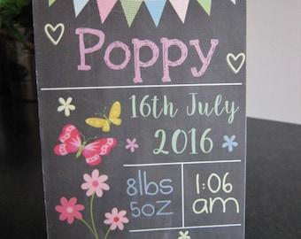Personalised 1st First Birthday Chalkboard, Slate effect Wall/Door Plaque Girls Gift Present Wall door Sign