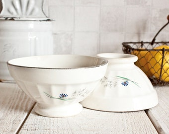 "Set of 2 Vintage French DIGOIN ""Café au lait"" White Ironstone Bowls 