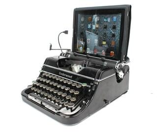 USB Typewriter -- Computer Keyboard and iPad Dock -- Glossy Black Underwood Champion
