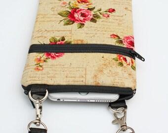 iPhone 8 Plus Crossbody Bag, Samsung S8  Purse, Cell Phone Zipper Purse, Fabric Vintage Travel Crossbody Bag - shabby chic rose script