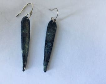 Dark porcelain drop earrings with glossy finish