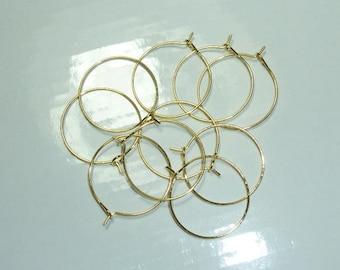 8 rings 25mm gold tone hoop earrings