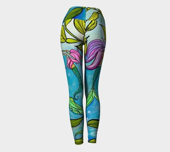 Mermaid Mama Eco Printed Yoga Pants Leggings, Mermaid Yoga Pants by Lauren Tannehill Art