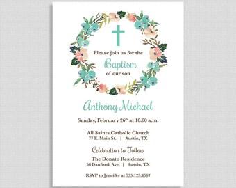 Baptism Invitation,  Baby Boy Baptism Invite, Floral Wreath, Christian Baptism Invite, Boy Christening, DIY PRINTABLE