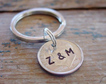 Dime Key Chain,Personalized Dime,Couples Initials,Coin Keychain,Silver Gift,10 Year Anniversary Gift,10th Anniversary,Silver Anniversary
