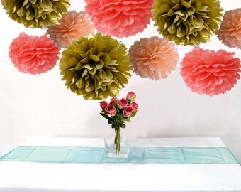 9pcs Mixed Coral Peach Gold DIY Tissue Paper Flower Pom Poms Wedding Birthday Bridal Baby Shower Hanging Party Decoration