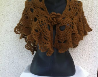 Handmade Brown mohair and wool scarf