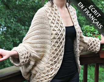 CROCHET PATTERN: Cardigan Au Point Crocodile- Permission to Sell Finished Product