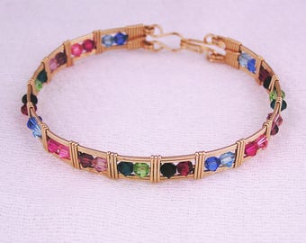Gold fill and Swarovski crystal multi color wire wrapped bracelet
