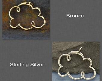 Sterling Silver Cloud Pendant or Bronze Cloud Pendant-Nature-Sky
