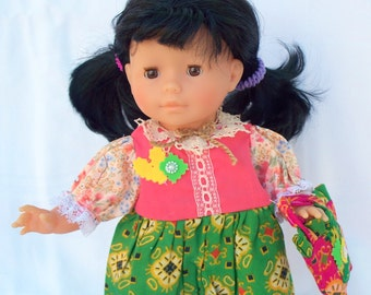 15 inch doll clothes 16 inch doll clothes Colorful Blocks Dress with Shopping Bag