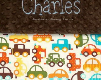 Personalized Toddler Boy Blanket ,  Minky Blanket - Organic Cotton Cars Fabric and Minky Dot , 36x40
