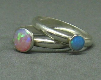 Blue and pink opal ring set of two for stacking or solo wear