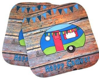 Happy Camper Gifts, Camper, Glamper, Vintage Camper, Pot Holders, Hot Pads, Camping Decor,