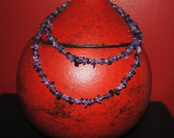 Amethyst Chip Necklace Set of Two