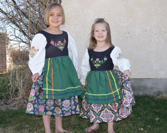 Girls Polish embroidered National Folk Costume dress, Eastern European, Heritage days, International, traditional Floral Poland outfit,