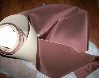 1 yd. of this vintage Silk Rayon coffee color taffeta ribbon 6""