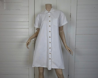 White Cotton Swing Dress- 90s Does 60s Mod Mini Dress / Nurse Uniform- Denim- Medium