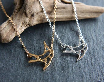 Swallow origami bird Necklace gold or silver necklace