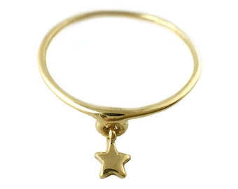 Star Ring     silver gold dangle sterling 14K jewelry