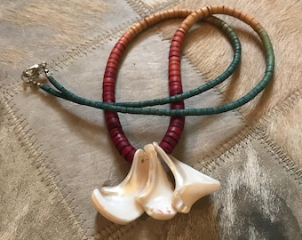 Shell and wood bead necklace
