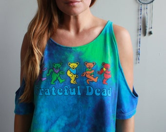 Grateful Dead Dancing Bears Bear Tie Dye Cut Out Open Off The Shoulder Peep Shoulder Upcycled Tshirt Tee Top Shirt Womens Clothing
