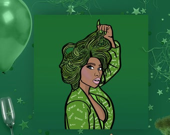 Christmas card - Nicki Minaj - Pop culture card - Greeting Card -  Nicki Minaj Card -  Nicki Minaj Christmas Card - Grinch