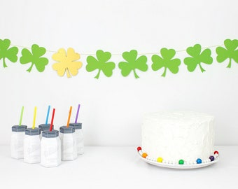 Shamrock Garland Kit : U-String Clover Bunting | St. Patrick's Day Party Decoration | Four Leaf Clover | Lucky Banner | Irish Photo Prop