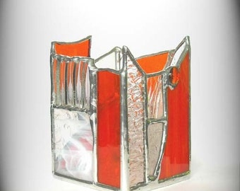 Orange And Clear Stained Glass Candle Holder