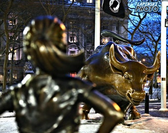 "Fearless Girl, Charging Bull, New York City Photograph, Color Photography, NYC Photo, Wall Art, Art Print, NY Decor, ""Have No Fear"""