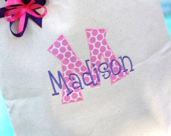 Girls personalized appiqued canvas tote bag flower girl ring bearer bridemaid gift