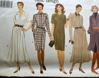 Vintage Dress Vogue Sewing Pattern 1441 Misses' Dress  Size 14-18 Bust 36-40 inches UNCUT Complete