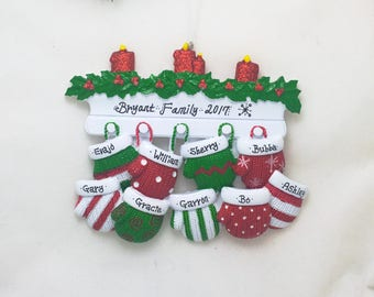 9 Red and Green Family Mittens Ornament / Personalized Christmas Ornament / Family of Nine Mittens on Mantel / Grandchildren