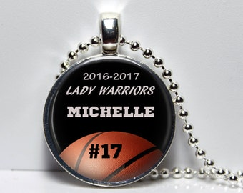 Personalized Basketball Neclace Trophy Glass Photo Necklace or Key Chain Team Awards Girls Basketball Boys Basketball Team gift Manager Gift