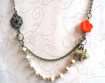Sweet bee necklace, vintage style, orange flower, beaded chain, brass bee charm, featured in Jewelry Affaire magazine,