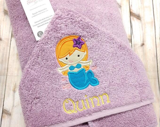 Mermaid Hooded Towel with Personalization Custom Monogrammed