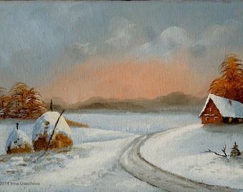 """Original Oil Painting for Sale: """"Winter Sunset. Haystacks"""", landscape"""